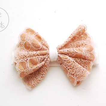 Baby Bow Headband, SKIN Colour Bow Headband, White Toddler Headband, Shabby Chic Bow Headband