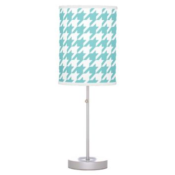Aqua Houndstooth Pattern Table Lamp