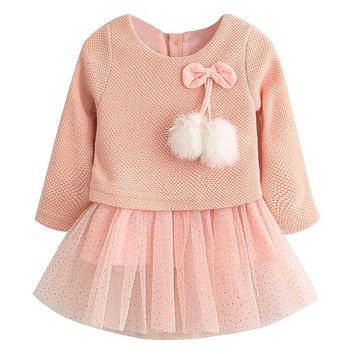Baby Girls Princess Dress Children Knitted Wool Gauze Fur-Ball Gold-Plated Party Dress for Little Girls Spring Clothing