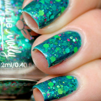 "Nail polish - ""Monet's Garden""  green, lime, neon glitter in a green base"