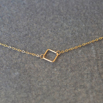 square necklace,Layered Necklaces,Personalized Delicate 14k Gold Filled Necklace,bff necklace