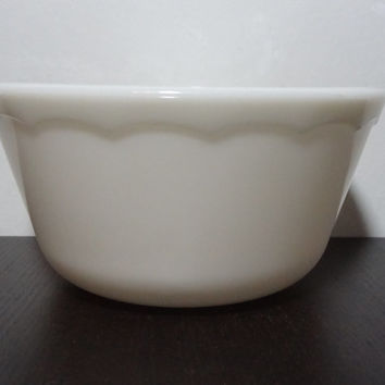 Vintage Small White Milk Glass Mixing Bowl with a Sweet Swag Banner Design Around the Rim