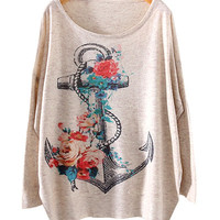Cream Anchor Print Sweater
