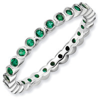 Small Created Emerald Eternity Stackable Ring
