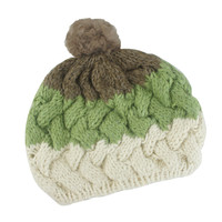 Mixed Color Fluffy Knit Pom Beanie
