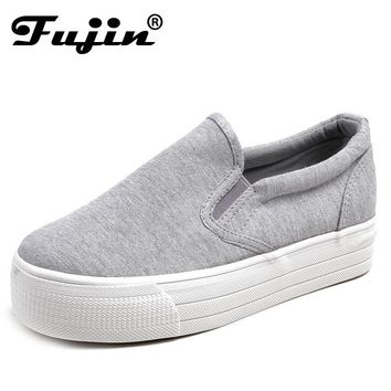 2016 Ladies platform Shoes canvas shoes Flats Slip On Solid Woman Leisure breathable Shoe Female Fashion Casual Shoes Fujin