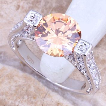 Pretty Champagne Morganite White CZ Silver Stamped 925 Women's Jewelry Ring Size 6 / 7 / 8 / 9  R1448