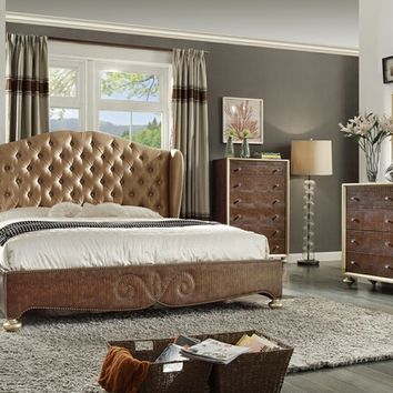 Mc Ferran B1709 5 pc winters collection brown colored wood finish and tufted upholstered bedroom set