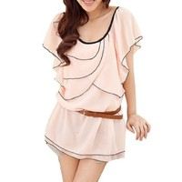 Women's Casual Ruffled Layered Front Chiffon Blouse