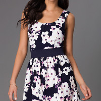 Short Sleeveless Floral Print Dress