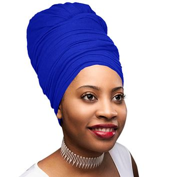 🎁 ONE DAY SALE Novarena Royal Blue Solid Color Head Wrap Stretch Long Hair Scarf Turban Tie Kente African Hat Jersey Knit Headwrap