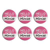 Monet Hello My Name Is Plastic Resin Button Set of 6