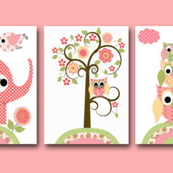 "Art for Children,Kids Wall Art,Baby Boy Room Decor,Nursery print,set of 3 8"" x 10"" Print,owl,elephant,tree,rose,artwork,flower,decoration"