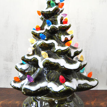 Vintage Ceramic Christmas Tree, Lighted Christmas Tree, Flocked Ceramic Tree, Holiday Decor, 15.5 Inch, Working Condition