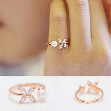 VLX2WL Jewelry Gift New Arrival Shiny Simple Design Leaf Floral Pearls Korean Accessory Stylish Ring [8380586375]
