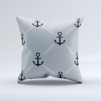 Navy & Gray Vintage Solid Color Anchor Linked Ink-Fuzed Decorative Throw Pillow
