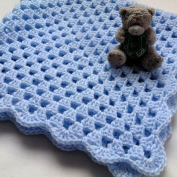 Baby Boys Granny Square Blanket Afghan Blanket Crochet Blanket Basket Stuffer Photography Prop Baby Shower Gift Sofa Throw CHOOSE YOUR SIZE