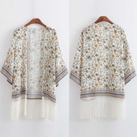 Baroque Floral Print  Embroidery Fringed Kimono