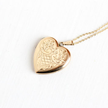 Vintage 10k Solid Rosy Yellow Gold Heart Locket Necklace - Retro Mid Century 1950s Fine Charm Pendant Engraved I Love You Photograph Jewelry