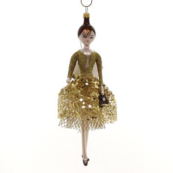 De Carlini LADY WITH GOLD SKIRT Glass Italian Do7584