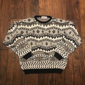 Vintage 90s Cream Teal Black Southwestern Style Sweater Made in Italy Mens Small