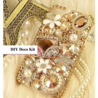 DIY 3D Bling Cell Phone Case Deco Kit: Rhinestone Flowers and Assorted Gems and Pearls