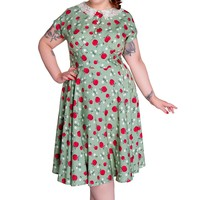 Hell Bunny 50's Retro Pinup Apple and Blossom Print Francine Dress
