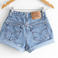 Levis High Waisted Shorts size 0 Shorts Vintage Levi High Waisted Jean Shorts High Waist Shorts Denim Cutoffs xs waist 25