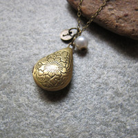 Antique bronze tear drop shaped floral embossed locket necklace ,pearl personalized Initial Letter locket necklace