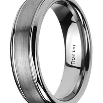 CERTIFIED 6MM Titanium Mens Womens Rings Brushed Centered Domed Wedding Bands
