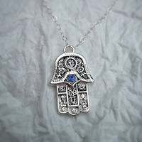 Silver Hamsa Hand - Evil Eye Necklace - Sapphire Swarovski Crystal - Dainty Sterling Silver Necklace - Good Luck Hand Necklace