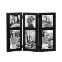 Black Wood Hinged Folding Table Desk Top Picture Photo Frame Collage