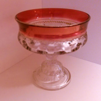 Cranberry Glass Kings Crown Thumbprint Compote Candy Dish Indiana Glass Company Tiffin Franciscan Cranberry Kings Crown