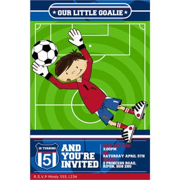 Cute Cartoon Soccer Football Goalkeeper Custom Birthday Party Invitation, Digital Printable Sports Invite
