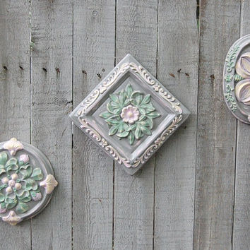 Shabby Chic Wall Decor,  Dusty Rose and Grey Flowers, Hand Painted, Ceramic, Pink, Green