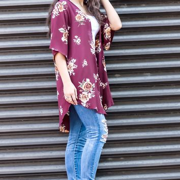 Grab Your Wine Floral Print Cardigan