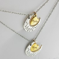 Mother and daughter Love you mom gift pendant moon necklace