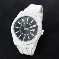 Custom White Steel Presidential Black Face Luxury Watch Sale