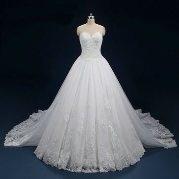 Wedding Dresses Ball Gowns Detachable Train Tulle Bridal Gowns Lace  Robe