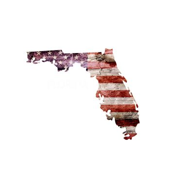 Florida Distressed Tattered Subdued USA American Flag Vinyl Sticker