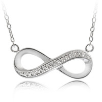 Silver Tone Diamond Accent Infinity Necklace, 18""
