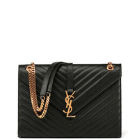 Monogram Matelasse Leather Chain-Strap Shoulder Bag, Black