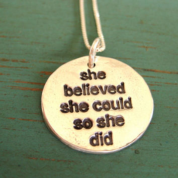 She Believed She Could So She Did Necklace, Hawaiian Jewelry, Inspirational Jewelry, Recycled Silver, Eco-Friendly Jewelry