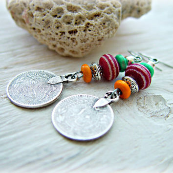 Boho Gypsy Coin Earrings - Boho Jewelry - Hippie Earrings - Boho Pink Earrings - Arabic Coin Earrings - Tribal Earrings