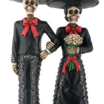 Mariachi Couple Day of the Dead Wedding Cake Topper - T82310