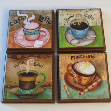 Coffee Kitchen Room Wall Plaques Brown Frame - Set of 4 Colorful Coffee Room Decor - SET #3 - Whimsical Coffee Wall Signs