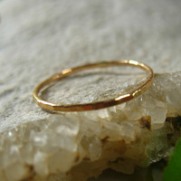 Stacking Ring Solid 14k Yellow Gold Hammered