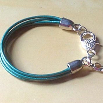 4 Teal Green Bracelet Hope Awareness Ribbon Anxiety Disorders Cervical Cancer Gynecologic