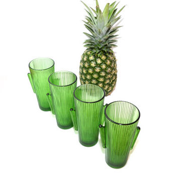 Green Cactus Glass Libbey Cactus Glass Southwestern Glasses Green Libbey Glasses Green Cactus -- Set of 4