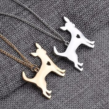Chihuahua jewelry-Chihuahua Pendant Necklace Silver & Golden Plated Necklace